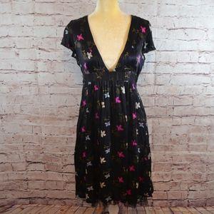 Free People Silk Black Floral Dress Deep V-Neck C5